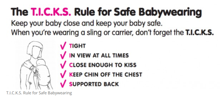 T.I.C.K.S. Rule for safe babywearing